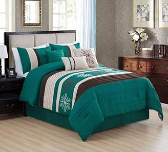 Home Must Haves 7 Piece Snowflake Modern Design Comforter Coffee Embroidered Bag Bedding Set-(Queen)