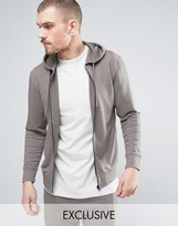 Nocozo Hooded Sweat Top in Brushed Cotton with Zip Through