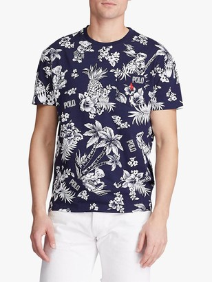 Ralph Lauren Polo Slim Fit Tropical Floral T-Shirt, Hawaiian Cruise Navy