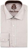 English Laundry Striped Cotton Dress Shirt, Brown/White