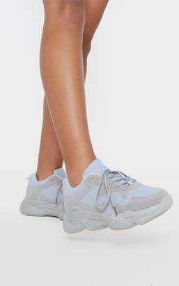 PrettyLittleThing Grey Double Bubble Sole Lace Up Trainer