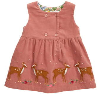 Boden Mini Deer Applique Corduroy Pinafore Dress