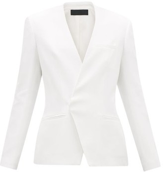 Haider Ackermann Collarless Single-breasted Twill Blazer - White