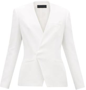 Haider Ackermann Collarless Single-breasted Twill Blazer - Womens - White