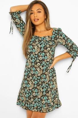 boohoo Petite Floral Long Sleeve Frill Hem Shift Dress