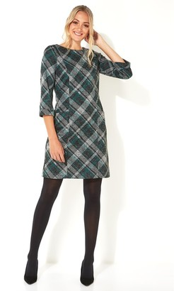 M&Co Roman Originals check print 3/4 sleeve shift dress