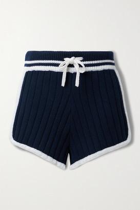 rag & bone - Serena Striped Ribbed-knit Shorts - Midnight blue