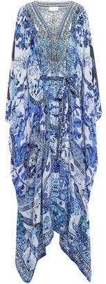 Camilla Eternity Lace-up Embellished Printed Silk Crepe De Chine Kaftan