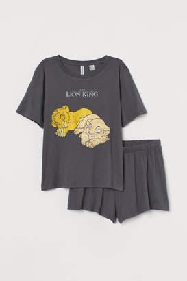 H&M Pajama T-shirt and Shorts - Gray