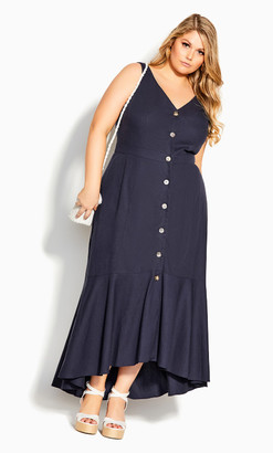 City Chic Sweetie Button Maxi Dress - navy