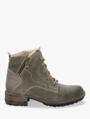 Josef Seibel Sandra 75 Suede Block Heel Biker Boots, Grey