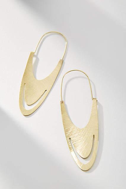 Anthropologie Anastasia Oval Hoop Earrings