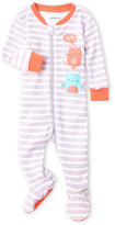 Petit Lem Newborn/Infant Girls) Stripe Kitty Footie