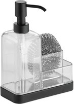 InterDesign Forma Kitchen Countertop Soap Dispenser Pump, Sponge, Scrubby Organizer - Clear/Matte Black