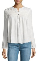 Current/Elliott The Retreat Long-Sleeve Henley Top, Dirty White