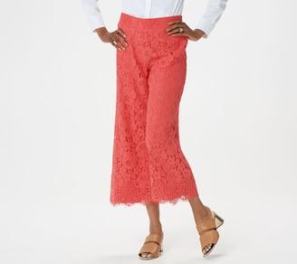 Isaac Mizrahi Live! Tall Floral Lace Knit Culotte Pants