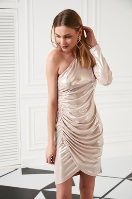 Jenerique One Shoulder Draped Mini Dress for Summer Party in Pink colour