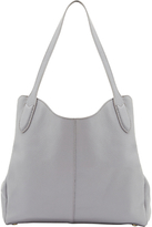 Lulu Guinness Jackie Grainy Leather Medium Shoulder Bag, Grey