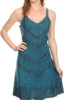 Sakkas 161114 - Rhyder Mid Strapless Spaghetti Strap Adjustable Embroidered Batik Dress