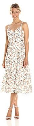 J.o.a. Women's Flower Print Sleevelss Dress W/D Ring Detail