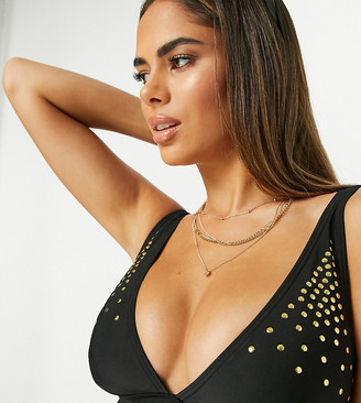 Wolfwhistle Wolf & Whistle Exclusive Fuller Bust studded triangle top in black