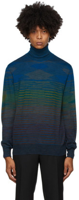 Missoni Blue and Green Knit Striped Turtleneck