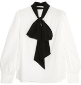 Alice + Olivia Treena Pussy-bow Silk-blend Blouse - White