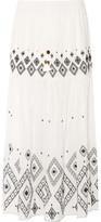 Rachel Zoe Embroidered Silk And Cotton-blend Maxi Skirt - Ivory