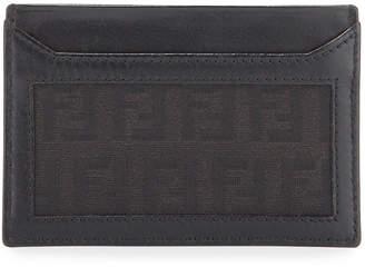 Fendi FF Logo Canvas Cardholder Wallet
