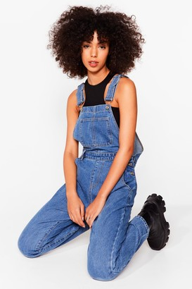 Nasty Gal Womens All in a Day's Work Relaxed Denim Overalls - Mid Blue