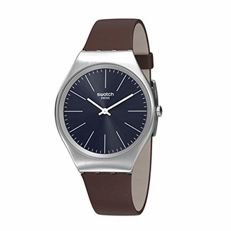 Swatch Women's Stainless Steel Quartz Watch with Leather Strap