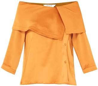 Bardot Paisie Blouse With Asymmetric Collars In Metallic Brown