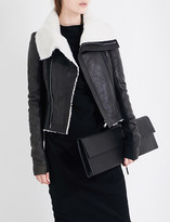 Rick Owens Shearling-lined leather biker jacket