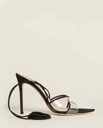 Gianvito Rossi Black Ankle-Wrap Suede Sandals
