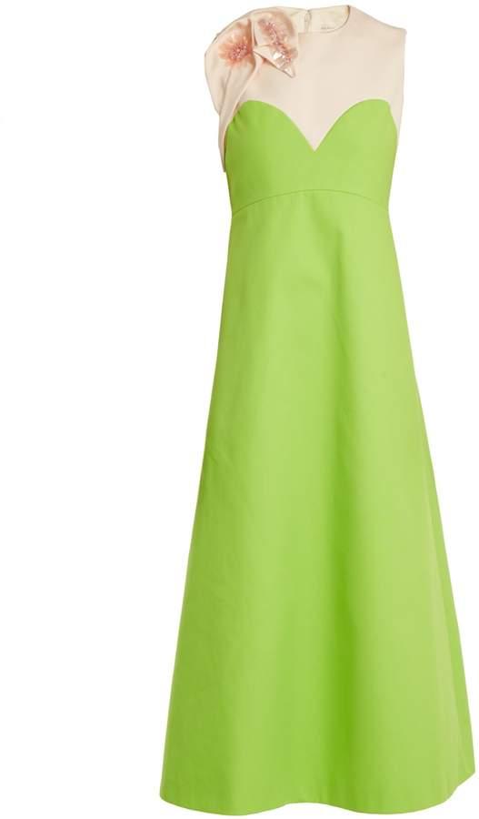 DELPOZO Floral-appliqué embellished A-line cotton dress