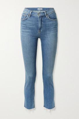 GRLFRND Reed Frayed Cropped High-rise Slim-fit Jeans - Mid denim