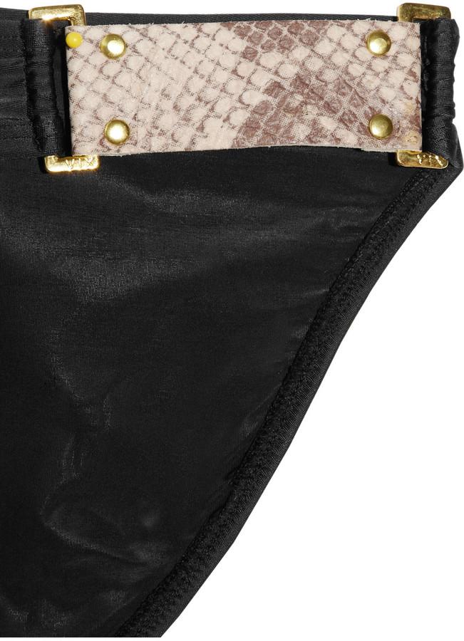Vix Swimwear Vix Faux leather-trimmed bikini briefs