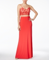 Adrianna Papell Petite 2-Pc. Sequined A-Line Gown