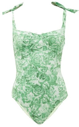 Ganni Bow-shoulder Floral-print Swimsuit - Womens - Green Print
