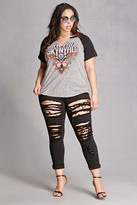 Forever 21 FOREVER 21+ Plus Size Distressed Ankle Jeans