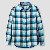 Cat & Jack Boys' Long Sleeve Button Down Shirt Check Cat & Jack - Blue
