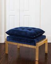Daelyn Velvet Ottoman, Blue/Gold