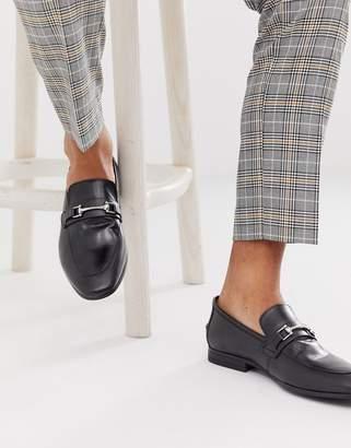 Burton Menswear leather snaffle loafer in black