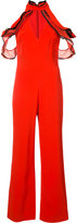 Jonathan Simkhai ruffled cold shoulder jumpsuit - women - Polyester/Spandex/Elastane/Acetate/Viscose - 0