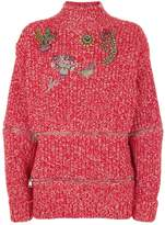 Alexander McQueen Embellished Oversized Sweater, Red, M