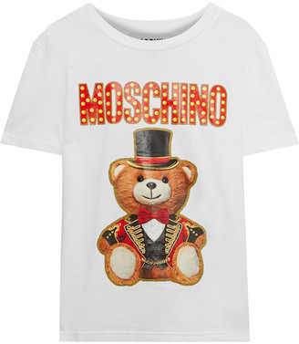 Moschino Printed Glittered Cotton-jersey T-shirt