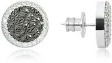 Rebecca R-Zero Rhodium Over Bronze Stud Earrings w/Stones