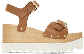 Stella McCartney Brown Faux-Leather Elyse Sandals