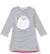 Joules Kaye Baby Girls 12 Months-3T Fur Ball Cat-Appliqued Striped A-Line Dress