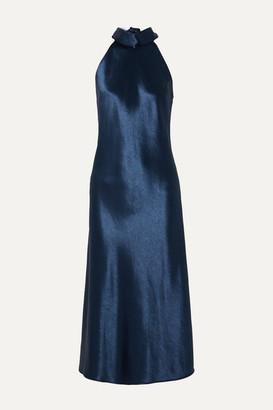 Galvan Sienna Halterneck Satin Midi Dress
